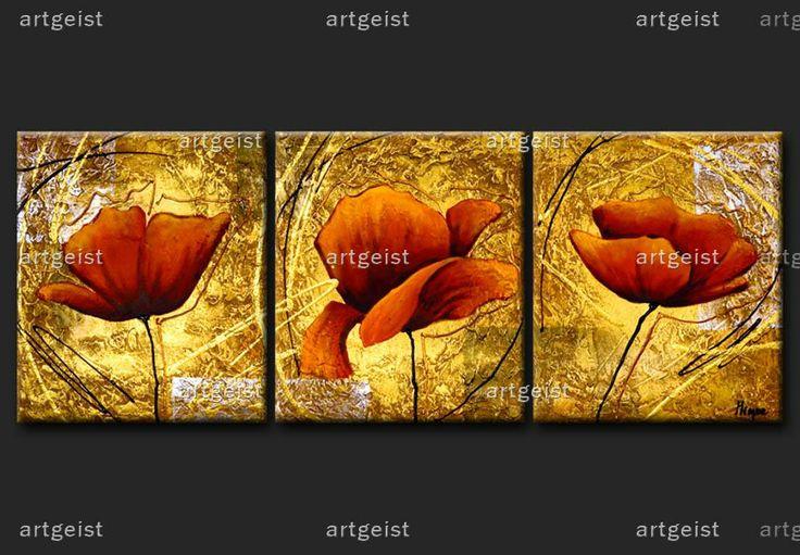 Cuadros de flores en lienzo pintura moderna artgeist - Cuadros pintura acrilica moderna ...