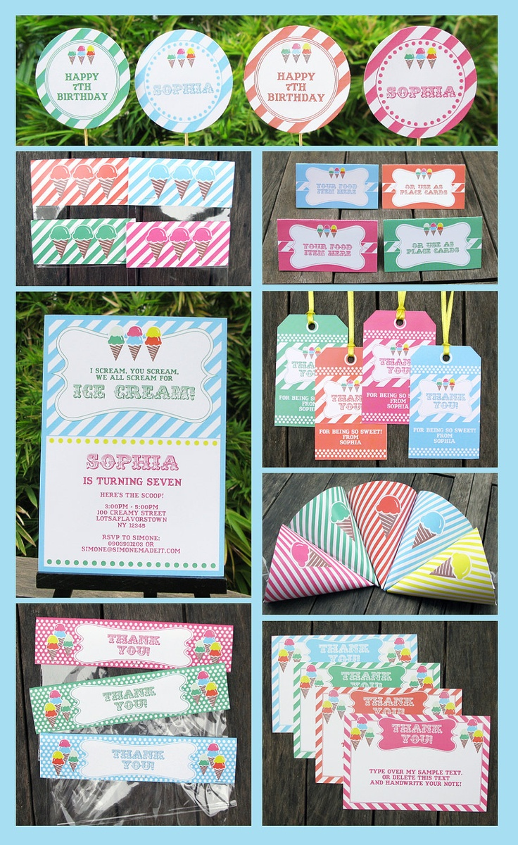 Ice Cream Party Invitation & Printable Birthday Collection, EDITABLE text PDF file - you personalize at home with Adobe Reader. $14.95, via Etsy.