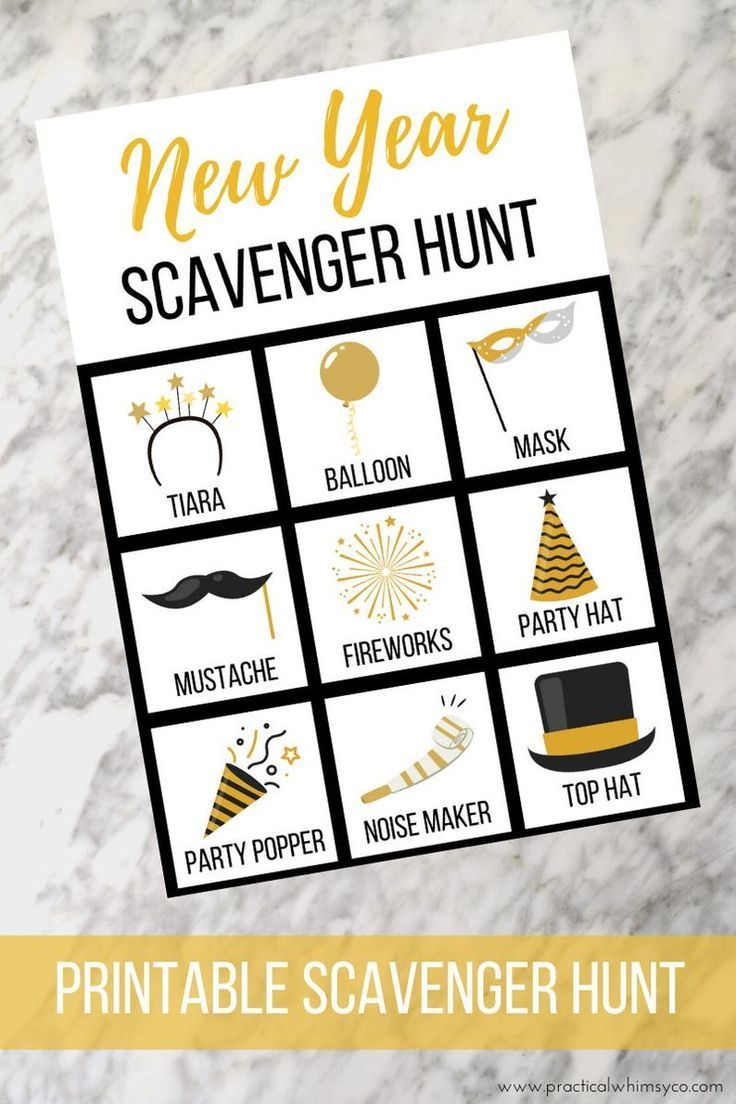 New Years Eve Party Scavenger Hunt Printable in 2020 (With