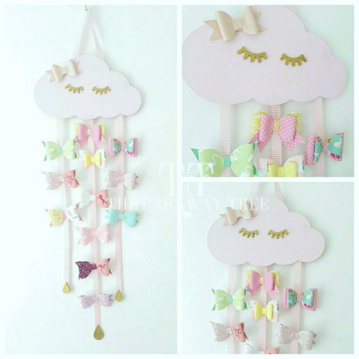 Cloud bow holder, wooden sleepy cloud, hair bow holder, sleepy eyelashes, hair accessories, hair bow storage, bow organizer