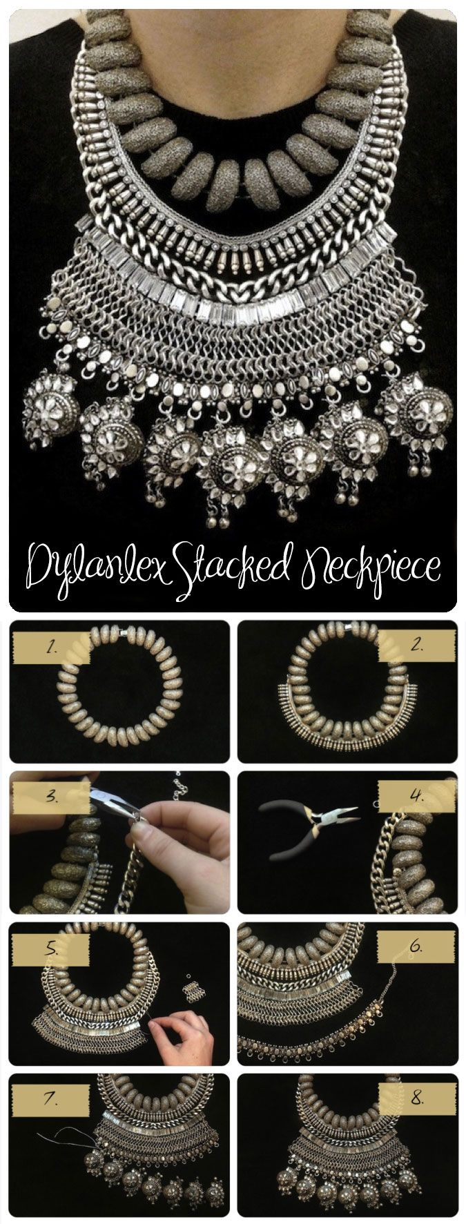 7 DIY fashion projects -  Stacked Statement Necklace