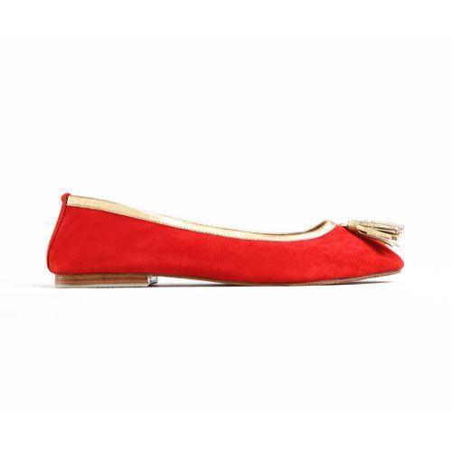 SUNYI TASSLE FLATS in Red Suede/Gold Napa Leather Trim for JodiLee Winter 14. Available sizes 36-42 www.jodilee.com.au Facebook: JodiLee Instagram: jodileedesigns