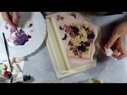 #Наталья Большакова МК Видео мастер-класс Многослойный фон в декупаже Ключница Pink & violet - YouTube