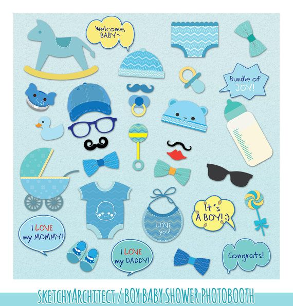 boy baby shower photo booth props digital by sketchyarchitect
