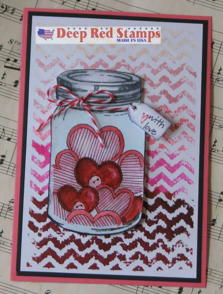 Rubber Stamp Card Making Ideas Part - 28: DeepRedStamps - Filled With Love Mason Jar By Ink Stained Roni
