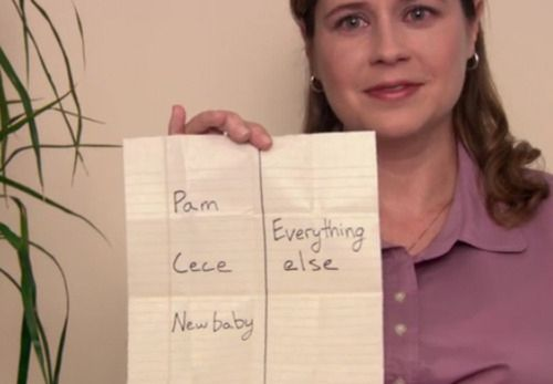 """When Pam finds this list by Jim before she gives birth to Phillip Halpert: 