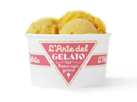 The Graphic designer Louise Fili created the current identity and packaging for L'Arte del Gelato, a small gelateria in New York.