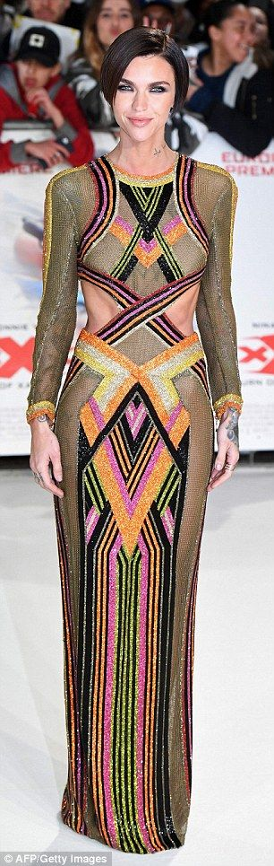 Sparkle with some stripes like Ruby Rose in Balmain   Click 'visit' to buy it now  #DailyMail