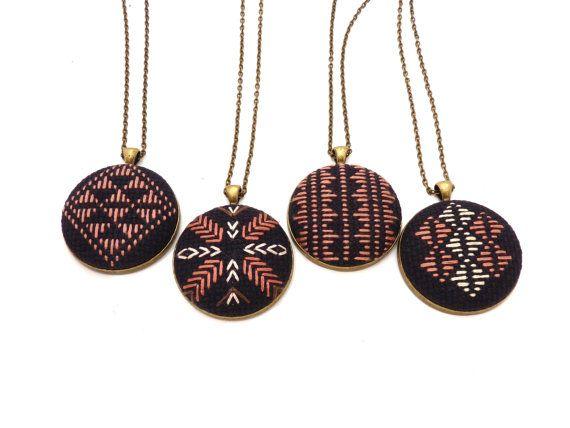 Crossroads Cross Stitch Necklace by zelmarose on Etsy