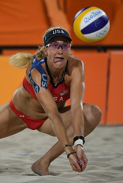 #RIO2016 Best of Day 1 - USA's Kerri Walsh Jennings dives for the ball during the women's beach volleyball qualifying match between the USA and Australia at the Beach Volley...