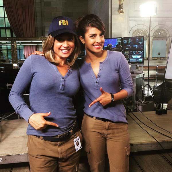 Priyanka Chopra with her co-star promoting Quantico on 'Good Morning America'