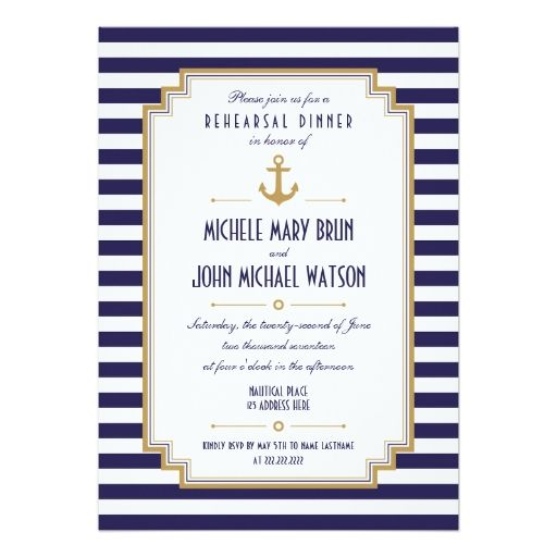 Stylish Nautical Rehearsal Dinner Invitation Personalized Announcements