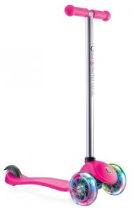 Check Globber 3 Wheel Kick Scooter with Patented Steering Lock, Pink and Chrome LED Wheels for girls, the cute, attractive, long lasting kids friendly scooter.