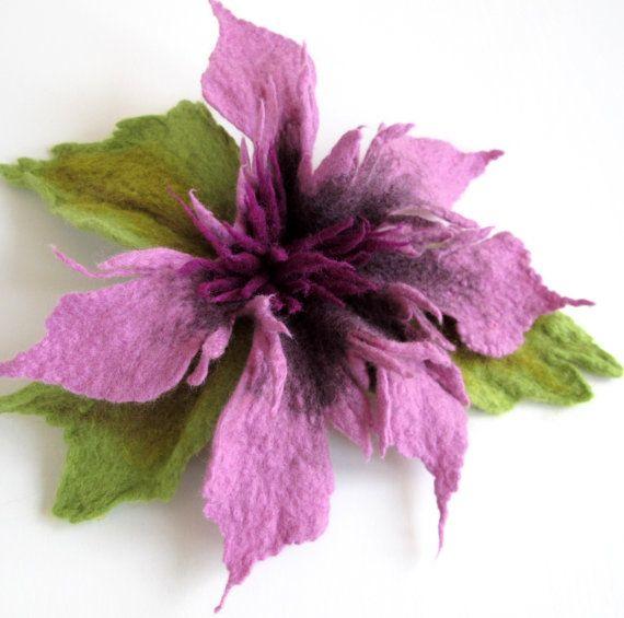 Felt Purple LavenderGreen Unique Felted Flower Brooch Handmade Merino Wool High Fashion Boho