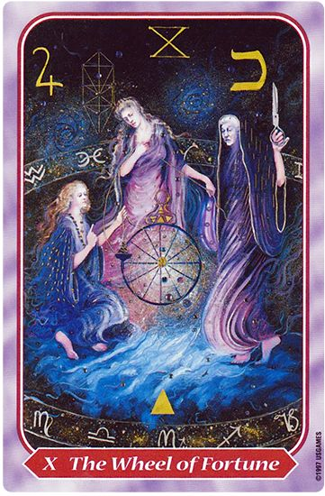 """Free Daily Tarotscope — Dec 18, 2015 — Wheel of Fortune -- Today you may be looking at the ups and downs in your life and thinking about how they've led you to where you are today. The Wheel of Fortune is associated with fate, destiny, """"karma,"""" life cycles and both good and bad luck. (more)..."""