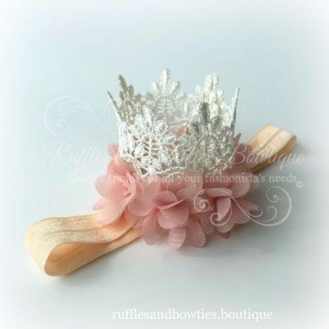 Baby Girl Lace Rosette Cream Princess Birthday Crown- Childrens Hat  - Cream Lace Birthday Tiara