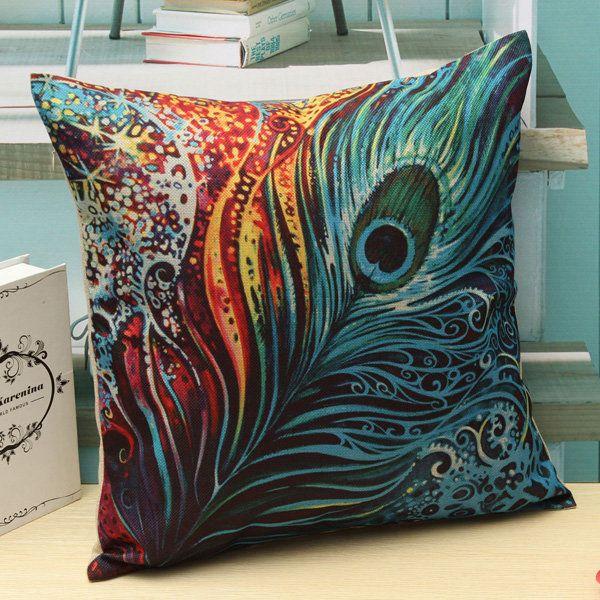 Plumas de pavo real de la vendimia tiran almohadilla de la caja de la cintura cubierta del cojín del sofá decoración del hogar