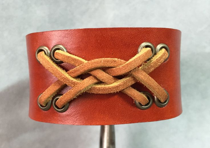 Brown leather bracelet cuff. Braided brown leather bracelet. by ChristyKeysCreations on Etsy
