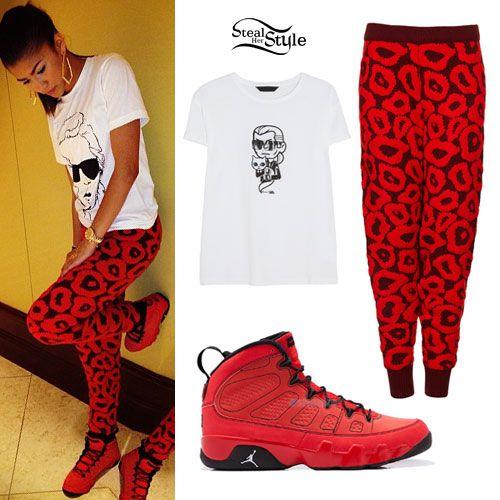 Zendaya: Red Leopard Pants, Red Jordans