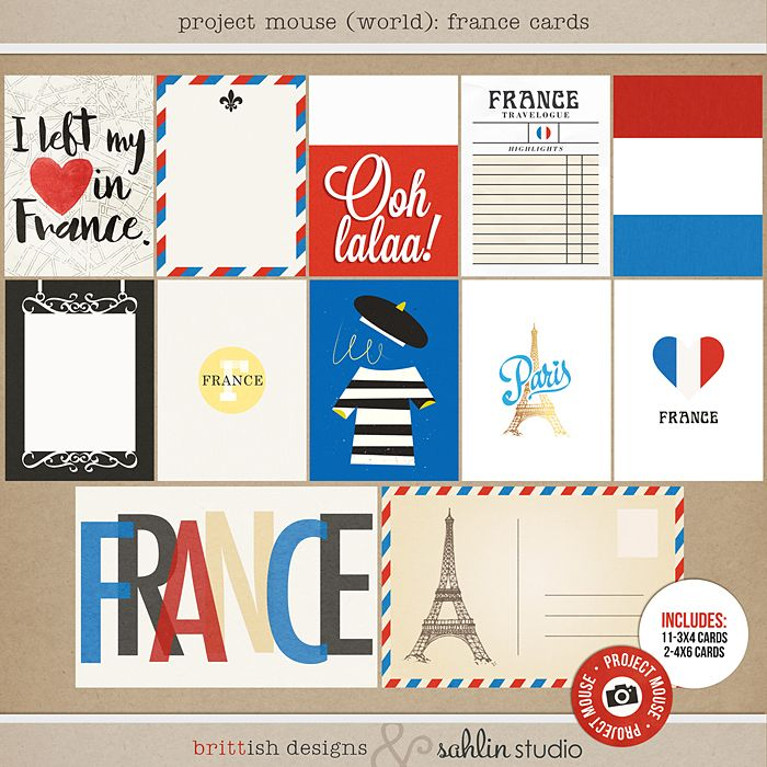 Project Mouse (World): France journal Cards by Britt-ish Design and Sahlin Studio - Perfect for your Project Life or Project Mouse Disney Epcot Album!