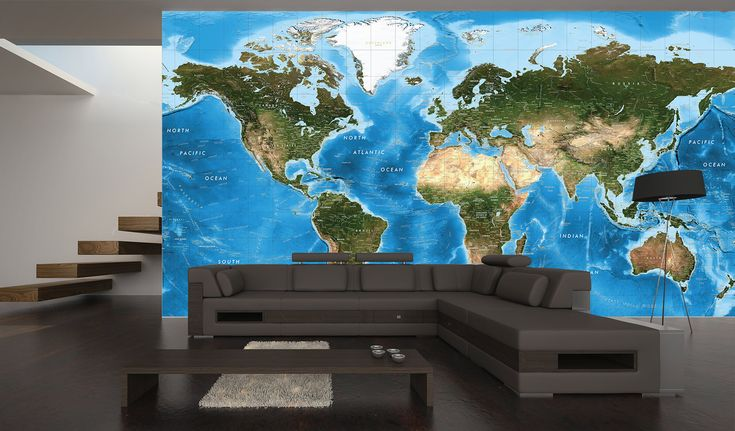 20 best images about map murals wallpaper maps on for Blue world map wall mural