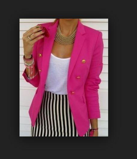 ZARA HOT PINK Summer Chic BOYFRIEND BLAZER W/ GOLD BUTTONS ...