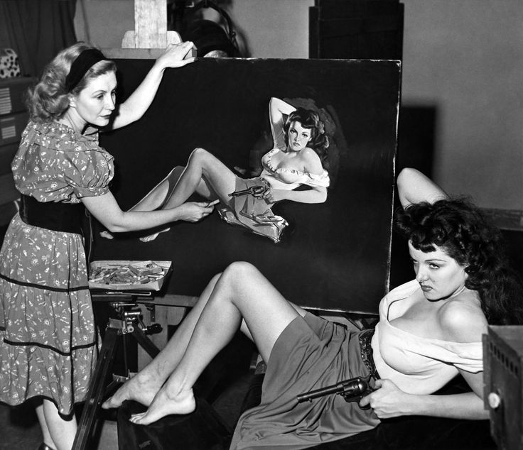 Pin-up artist Zoë Mozert paints Jane Russell for Howard Hughes' The Outlaw 1943
