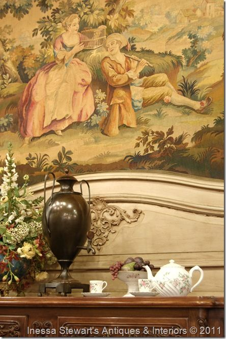 Antique Accessories on French Buffet with Tapestry ~ Antique Store Online ~ Belle Brocante ~ www.inessa.com ~ French Antiques
