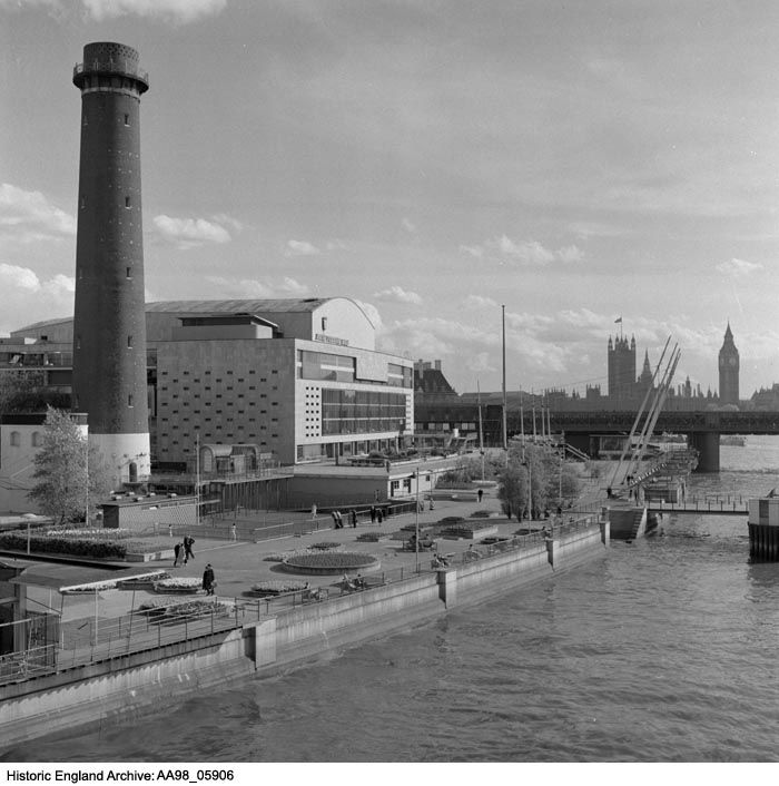 AA98/05906 General view of the Royal Festival Hall looking south from Waterloo Bridge with the Shot Tower still standing. It was demolished after the Festival of Britain for the building of the Queen Elizabeth Hall. Royal Festival Hall, Belvedere Road, South Bank, Greater London Authority. 1951 - 1980, Eric De Mare.