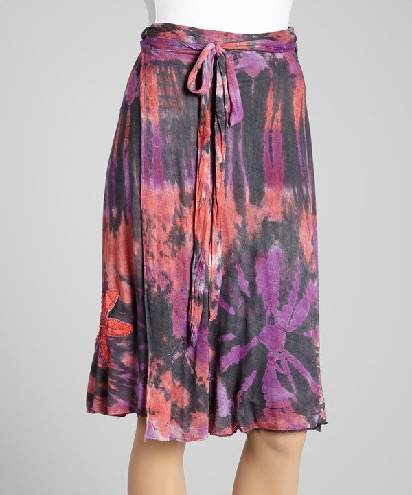 Look at this Karma Circle Black & Purple Tie-Dye Flower Appliqué Wrap Skirt - Women on #zulily today!