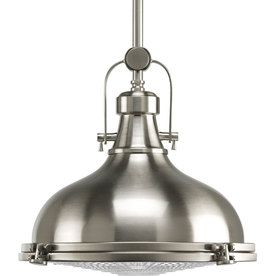Progress Lighting Fresnel 12.125-in W Brushed Nickel Pendant Light with Clear Shade -Brought to you by LG Studio