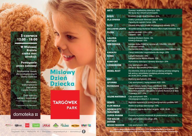 Targówek Park i Domoteka  zapraszają 3 czerwca na misiowy dzień dziecka z kreatywnymi warsztatami pluszaków, malowaniem plecaków i  buziaków oraz  pomocą dla potrzebujących dzieciaków.