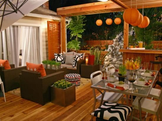 A Simple Guide to Enlivening Plain Patio Designs  I like the black, white and burnt orange color combo