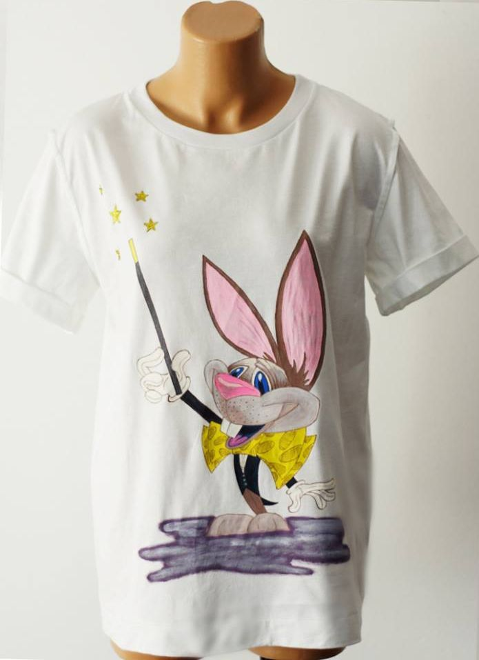 Handmade painted t-shirt with a magician bunny.
