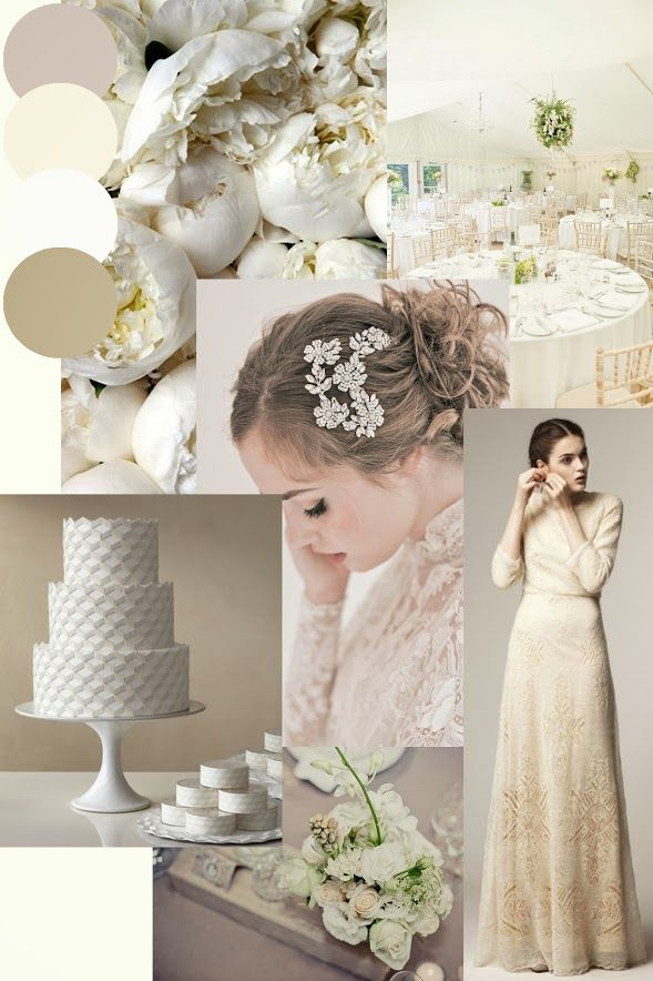 Classic Ivory & Taupe Wedding Styling Moodboard