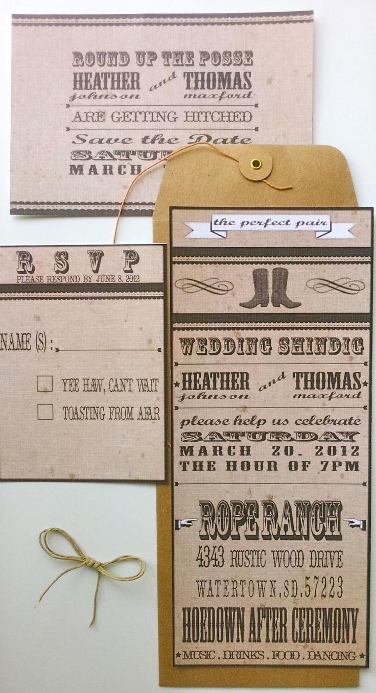Wedding Invitation Western Ranch Style 275 via