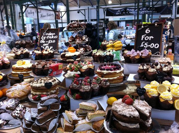 Cakes and buns at St. George's Market, Belfast