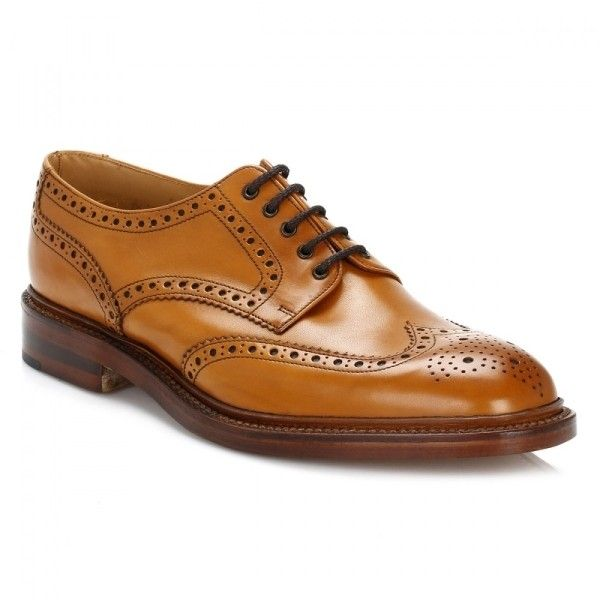 Mens Tan Chester 2 Brogue Derby Shoes ($265) ❤ liked on Polyvore featuring men's fashion, men's shoes, men's oxfords, mens shoes, mens tan derby shoes, mens tan brogues, mens brogue shoes and mens derby shoes