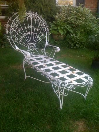 42 best chaise lounging w vintage wrought iron images on pinterest wrought - Chaise metal vintage ...