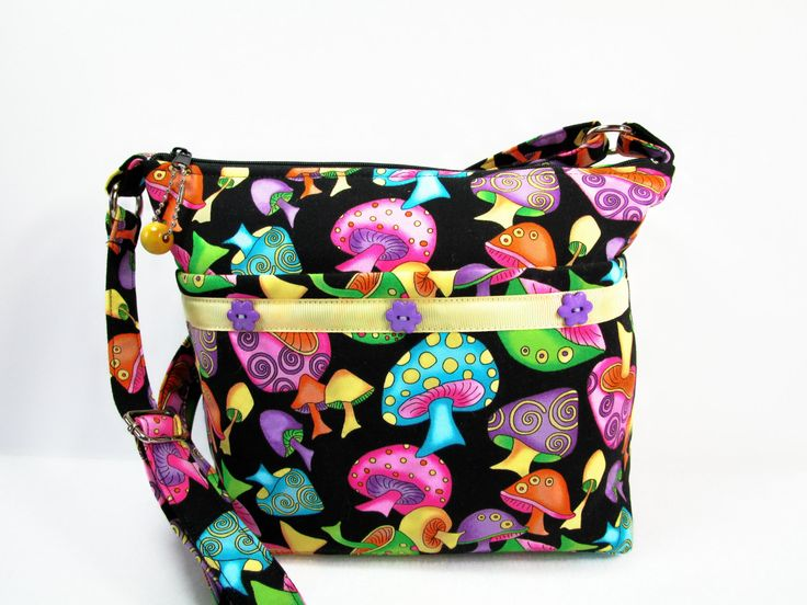 Colorful Mushrooms Handmade Fabric Purse / Handmade / Zipper Closure / Cross Body by darlingsdesigns on Etsy