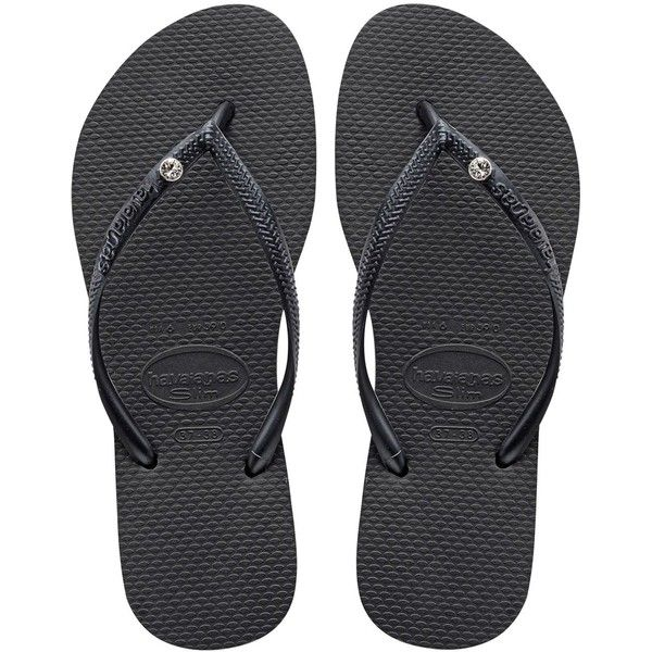 Havaianas Women Slim Crystal Rubber Flip Flops (285 DKK) ❤ liked on Polyvore featuring shoes, sandals, flip flops, black, black sandals, rubber sandals, havaianas sandals, rubber shoes et strap sandals