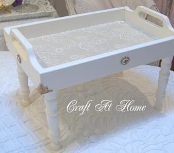 Turn A Flat Tray Into A Shabby Chic Breakfast Tray.