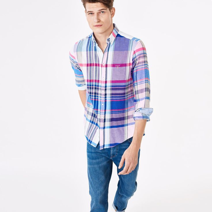 GANT Men's Winter Twill Madras Checked Shirt Soft Lavender | Official Site