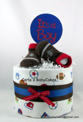 Mini diaper cake   Boy diaper cake   Sports diaper cake   Baby shower decoration   Baby diaper cake   Baby shower gift   Mom to be gift by MsCarlasBabyCakes on Etsy #babyboy #diapers #sportsfan #newmom #newdad #babyshower