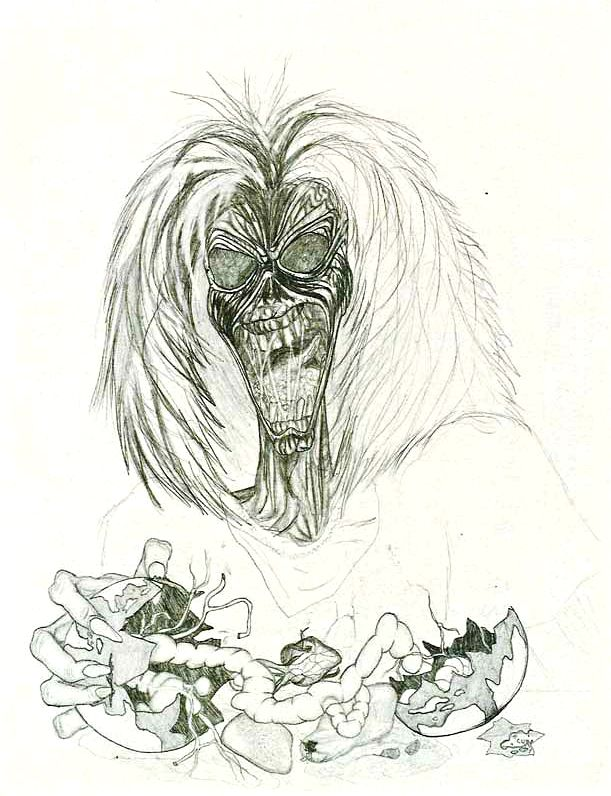 Drawing of the Iron Maiden mascot by Kurt Cobain. Published in Kurt's Journals