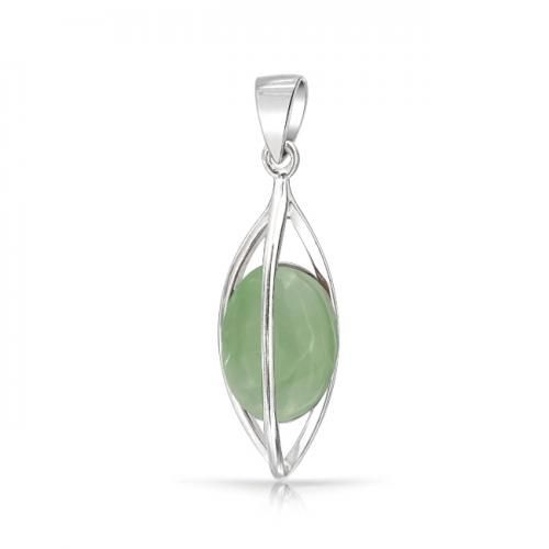 Cage Gemstone Round Green Jade Pendant 925 Sterling Silver