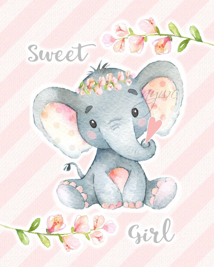 SWEET GIRL Elephant Wall Art Watercolor Elephant Wall