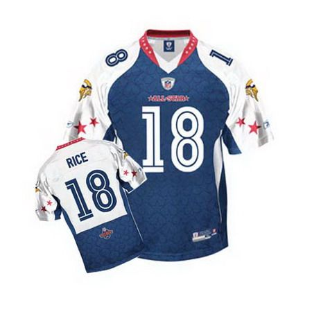 vikings 18 sidney rice 2010 pro bowl blue stitched nfl all star jersey