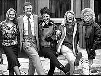 Michael Grade BBC One controller in the 1980's, with EastEnders actors Shirley Cheriton, Linda Davidson, Gillian Taylforth, and Tish Dean, in 1985