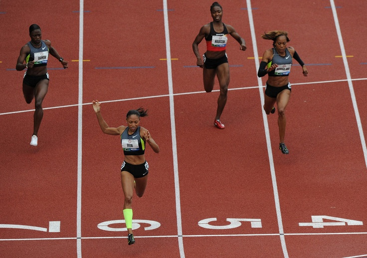 Allyson Felix finishes first in the women's 200-meter dash final on Saturday, June 30, 2012 at the U.S. Olympic Trials at Hayward Field. Felix ran the third fastest time for an American in 21.69. (Turner Maxwell/Oregon Daily Emerald) #Team USA # Bad Sister